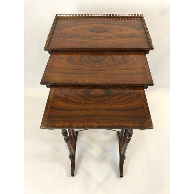 Regency Regency Zebra Wood Nesting Tables - Set of 3 For Sale - Image 3 of 13