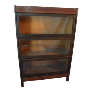 1950s Antique Globe Wernicke 3 Section Bookcase