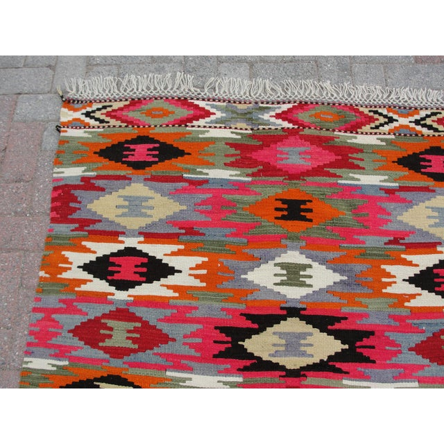 Islamic Vintage Turkish Kilim Rug - 4′4″ × 6′10″ For Sale - Image 3 of 11
