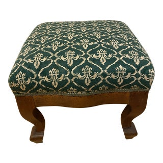 Antique Upholstered Green Ottoman For Sale