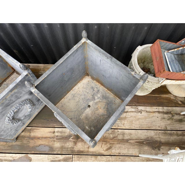 Gray Steel Planters - a Pair For Sale - Image 8 of 11