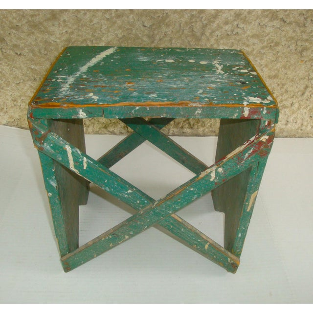 Primitive Rustic Primitive Handmade Green Wood Stool For Sale - Image 3 of 6