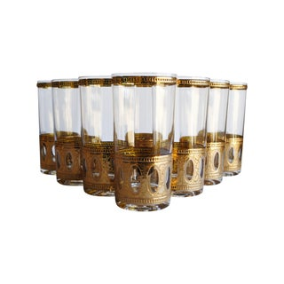 Culver Antiqua Glasses- Set of 8 For Sale