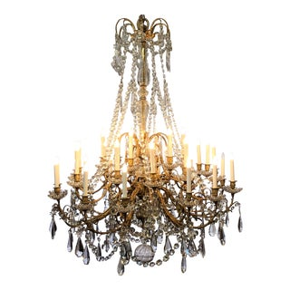Antique French Baccarat Crystal Bronze d'Ore Chandelier With Thirty Lights, Circa 1880