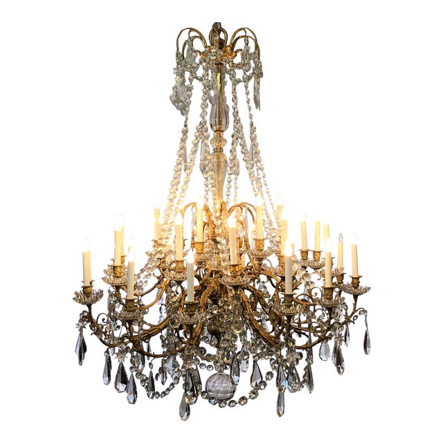 Antique French Baccarat Crystal Bronze d'Ore Chandelier With Thirty Lights, Circa 1880 For Sale