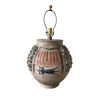 Vintage 1995 Casual Lamps of California Ceramic Tiki Southwest Table Lamp For Sale