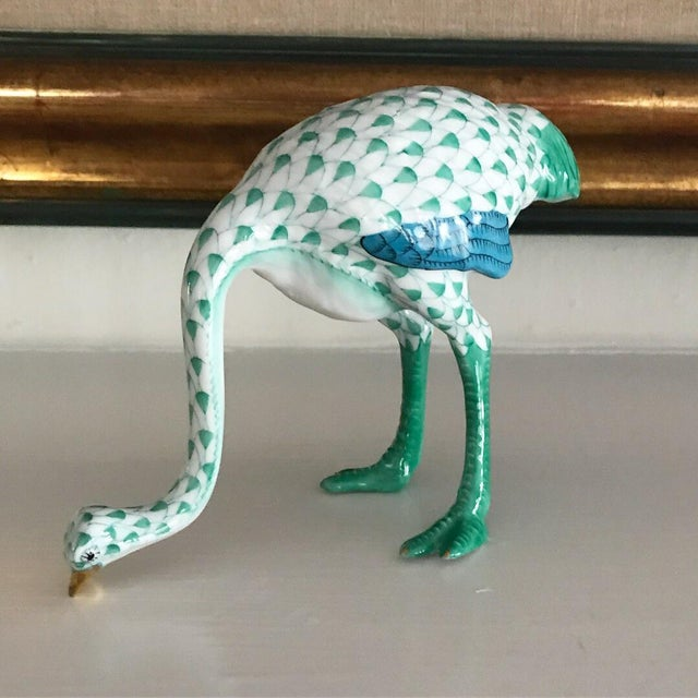 Herend Traditional Herend Ostrich Green & White Fishnet Figurine For Sale - Image 4 of 4