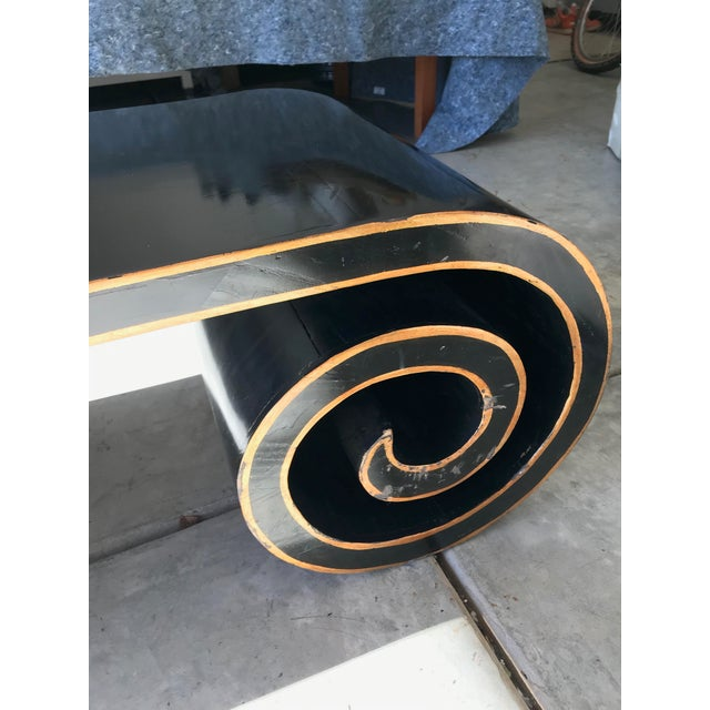 Black and Gold Lacquer Scroll Coffee Table For Sale In San Diego - Image 6 of 11