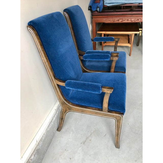 Mid-Century Modern Blue Velvet Dining Chairs - Set of 4 For Sale - Image 4 of 11