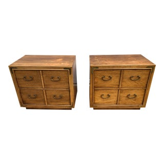 1970s Mid Century Modern Thomasville Campaign Chests - a Pair For Sale