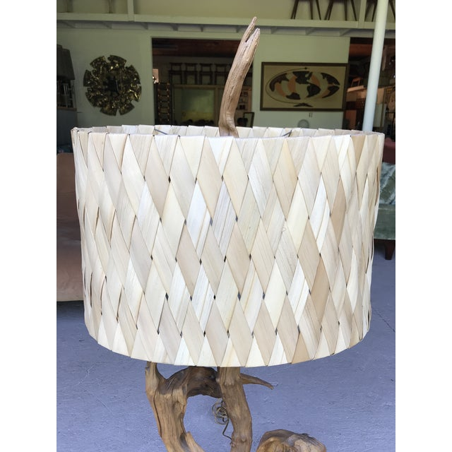 """Wood 50"""" Tall Monumental Driftwood Lamp Original Woven Shade For Sale - Image 7 of 10"""