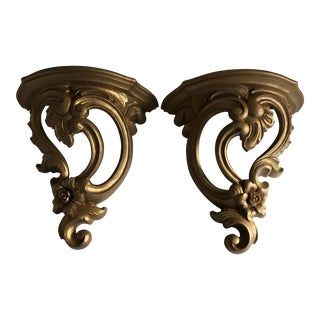 Mid-Century Rococo Style Decor Shelves, a Pair For Sale