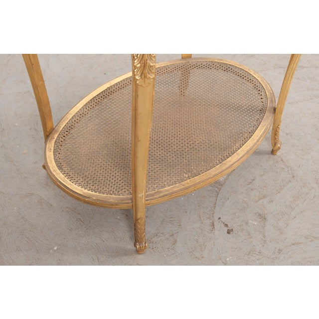 French 19th Louis XVI Style Oval Giltwood Occasional Table For Sale - Image 11 of 13