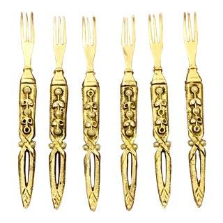 Vintage Brass Hors D'oeuvres Forks - Set of 6