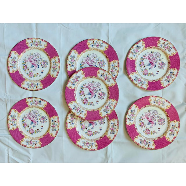 Pink Early 20th Century English Minton Pink Cockatrice Plates - Set of 7 For Sale - Image 8 of 8