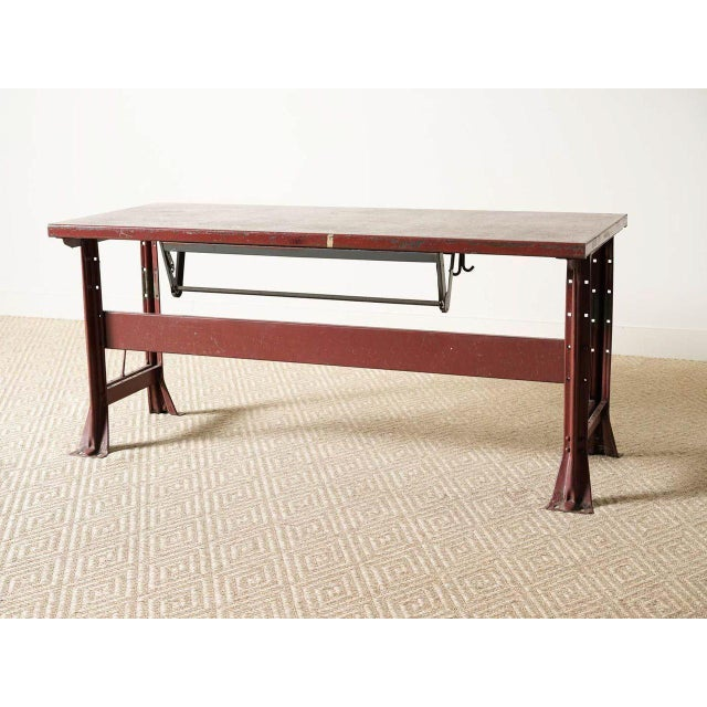 1940s Vintage Red Enamel Table For Sale - Image 5 of 5