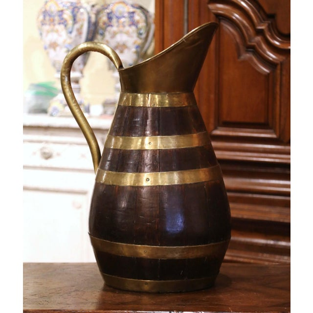 19th Century French Oak and Brass Banded Cider Pitcher Jug From Normandy For Sale - Image 11 of 11