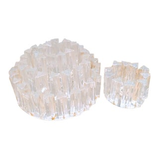 Murano Glass Prism Flush Mount Elegant Chandeliers - a Pair