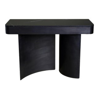 Contemporary Blackened Steel Crescent Console With Black Marble Top For Sale