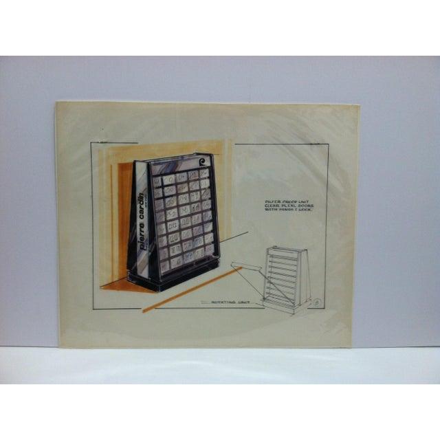 "1980s 1980s ""Pierre Cardin - Paris - New York"" Displayco East Original Advertising Drawing For Sale - Image 5 of 5"