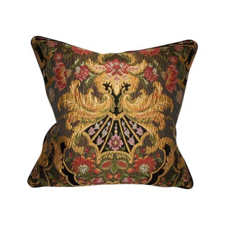 Aubusson Chenille Tapestry Lampasso Accent Pillow