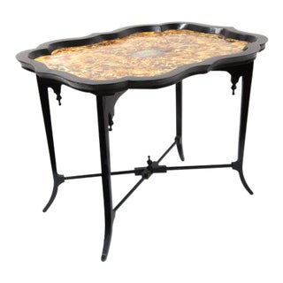 Simulated Tortoise Shell Table on Cross Stretcher Base For Sale