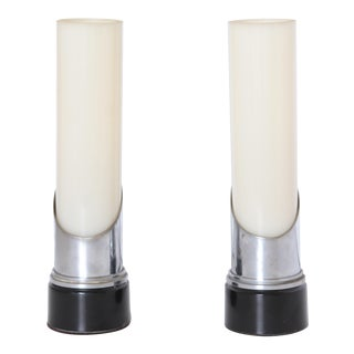 "Pair Rare Gilbert Rohde For Mutual Sunset Attributed Machine Age Art Deco ""Lipstick"" Mood Lamps"