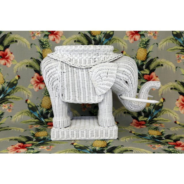 Vintage White Wicker Elephant Table - Image 4 of 11