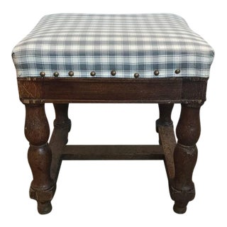 19th Century Upholstered Stool with Nailheads For Sale