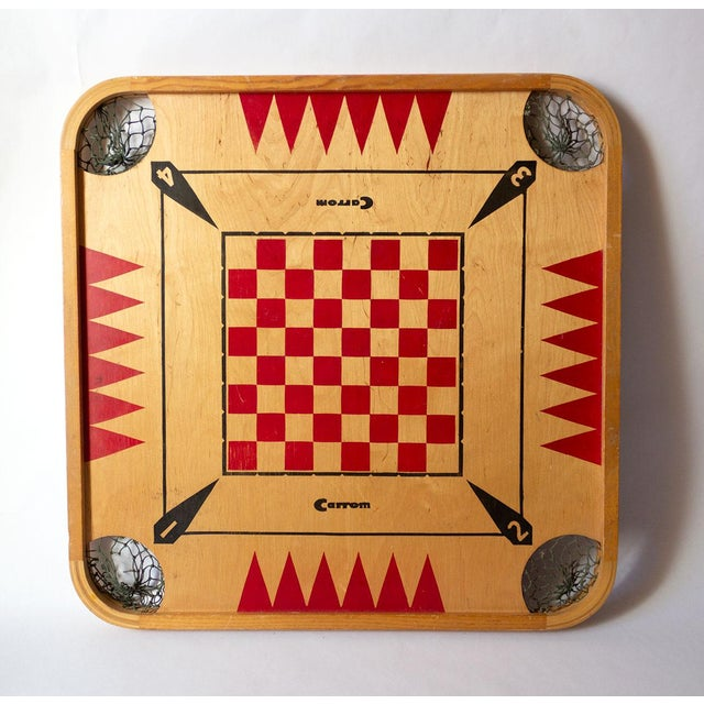 This charming mid-century Carrom board is a classic addition to any vintage gallery wall. It's also large enough to stand...
