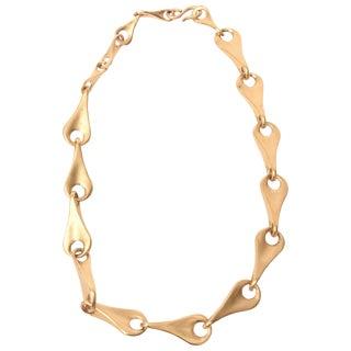 Robert Lee Morris for Artwear Gold Plated Sterling Silver Sculptural Necklace For Sale