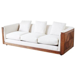 Gabriella Crespi Style Faux Bamboo Rattan Case Sofa For Sale