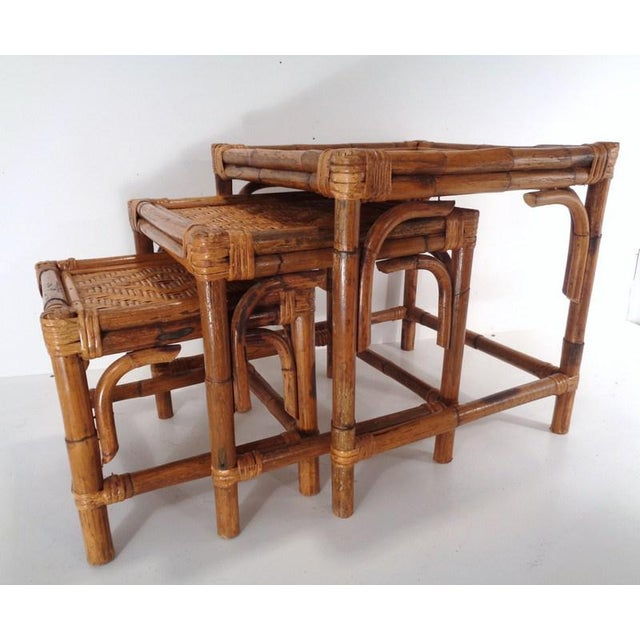 Mid 20th Century Mid Century Organic Modern Bamboo Side Nesting Tables For Sale - Image 5 of 11