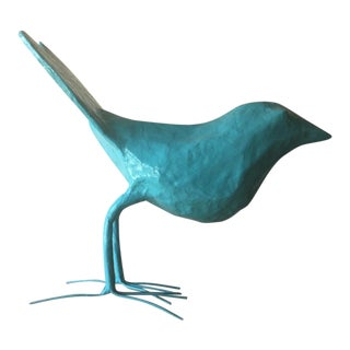 Boho Chic Stray Dog Designs Paper Mache Bird Figurine - Blue For Sale