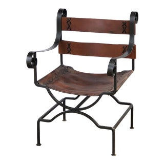 English Armchair or Lounge Chair of Iron and Leather For Sale