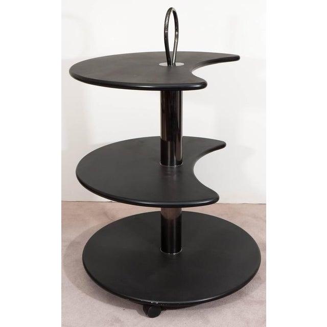 DIA - Design Institute America Design Institute of America DIA Black Lacquered Circular Revolving Bar Cart For Sale - Image 4 of 7