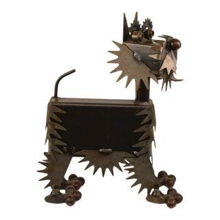 Vintage Brutalist Metal Dog Sculpture For Sale