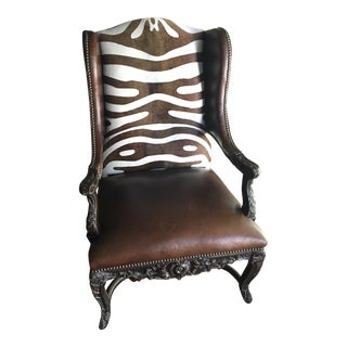 Leather Carved Wingback Chair For Sale