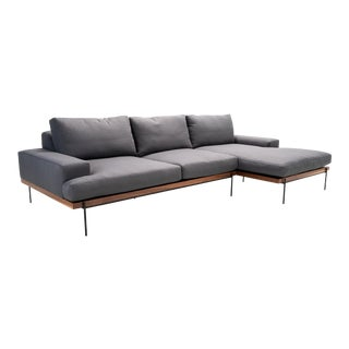 Industrial Modern Mid Century Style Sofa Chaise For Sale