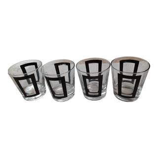 Vintage Mid Century Modern Black Geometric Cubist Design Rocks Glasses - Set of 4 For Sale