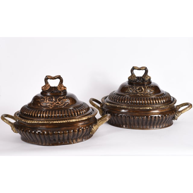 Neoclassical Early 20th Century Neoclassical Style Bronze Tureen Centerpieces - a Pair For Sale - Image 3 of 13