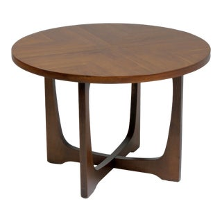 1960s Broyhill Brasilia Mid-Century Modern Sculptural Round Walnut Side Table For Sale