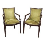 Image of Pair Mid-Century French Armchairs For Sale
