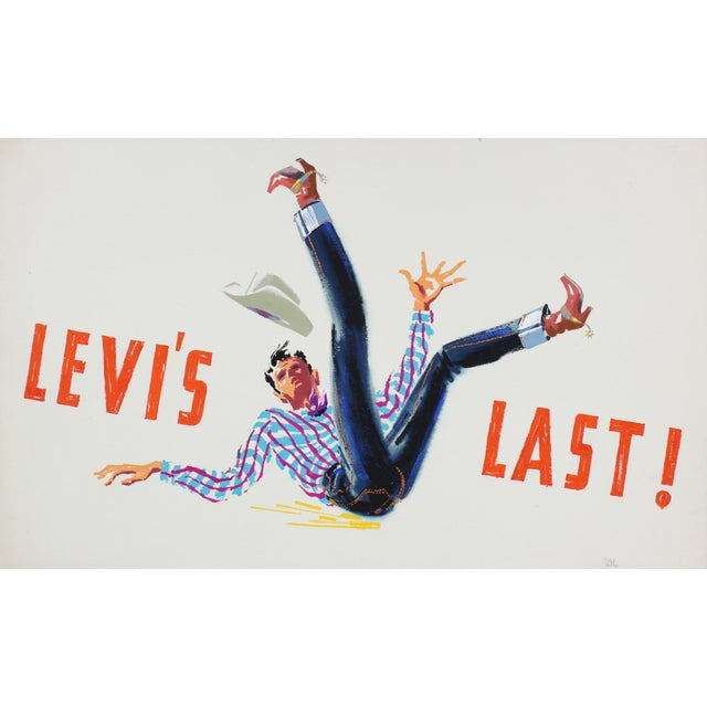 "Modern ""Levi's Last"" Mid Century Illustration For Sale - Image 3 of 3"