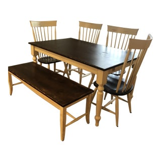 Cottage Style Dining Room Table Set - 6 Pieces For Sale