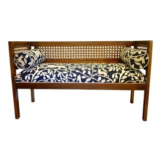 Mid-Century Robert Allen Upholstered Cane Settee For Sale