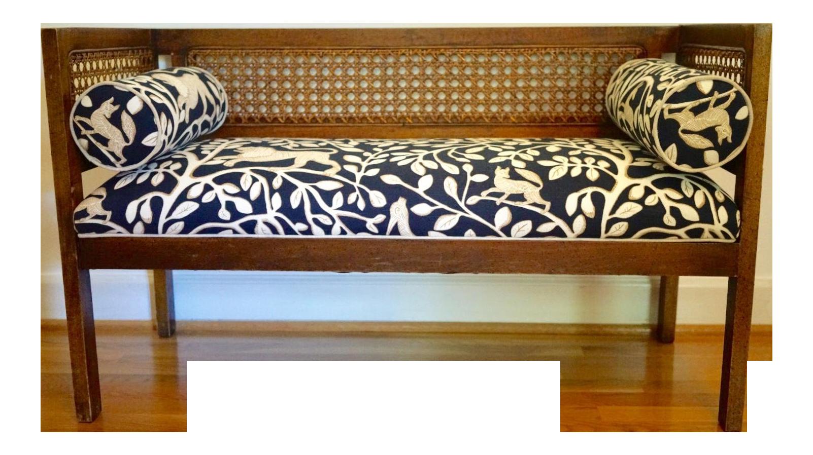 Mid Century Robert Allen Upholstered Cane Settee For Sale