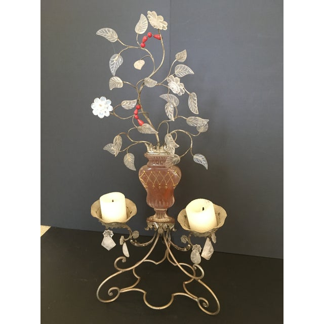 Early 20th Century Pair of Metal, Glass and Rock Crystal 2-Light Candelabra.by Bagues For Sale - Image 5 of 8