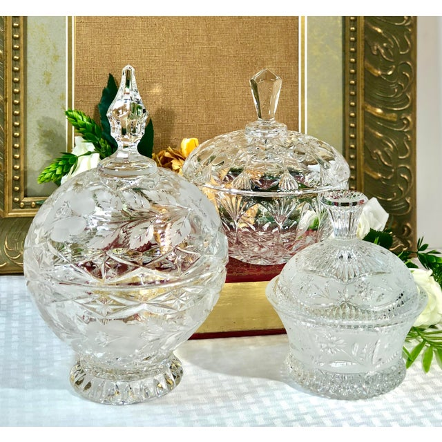 Vintage Crystal Dishes With Lids - Set of 3 For Sale - Image 4 of 12