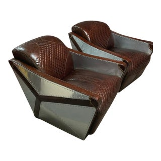 Fendi Aviation Leather Diamond Stitched Club Chairs- A Pair For Sale